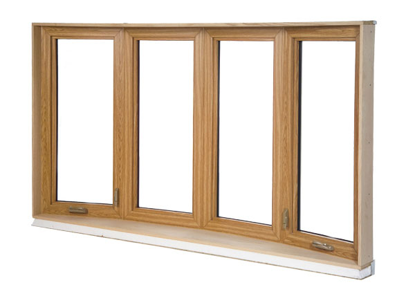 Bow window interior with 2 picture and 2 casement windows, interior colour Kolonial-Oak