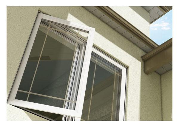 Casement window exterior, prairie grill pattern