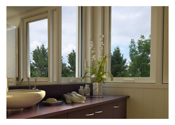 Casement window interiorr, bathroom