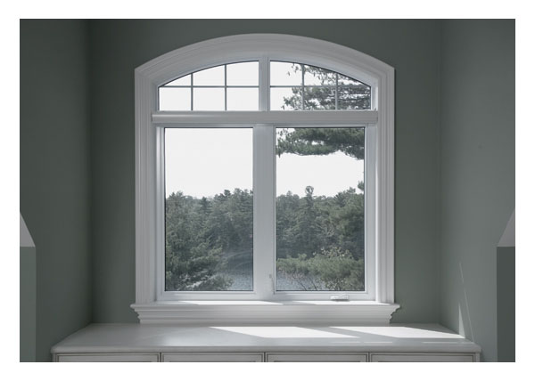 Casement window, picture window, shaped window in bathroom
