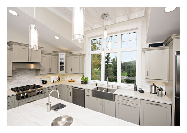 Kitchen 2 Casement windows, picture windows center & top