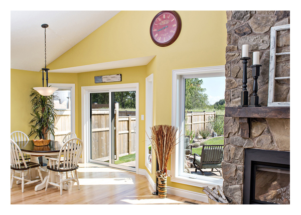 Open concept living space - large casement windows
