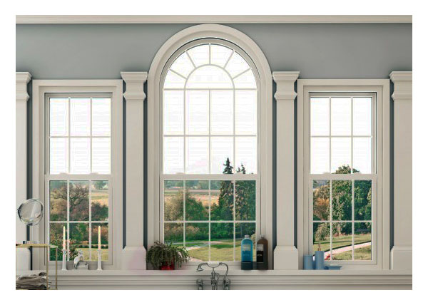 Custom shaped, divided custom hung style palladian window