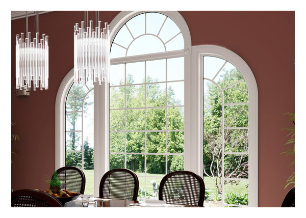 View of palladian style shaped vinyl windows from dinning room