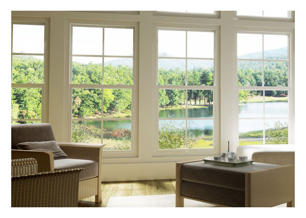 Traditional styling of single hung windows in sun room