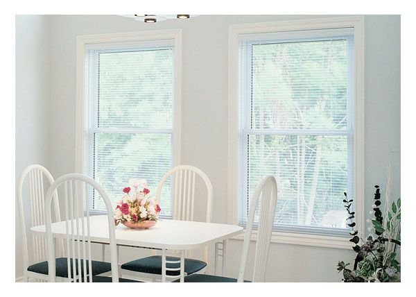 Single hung windows with inside the glass blinds