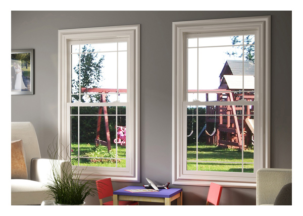 Living room- Single hung windows with prairie style grills
