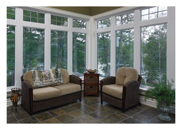 Large lower picture and casement windows, grilled upper picture windows