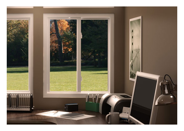 Vinyl slider windows in study, vertical orientation and unubstructed view