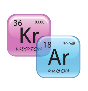 Krypton and Argon filled glass